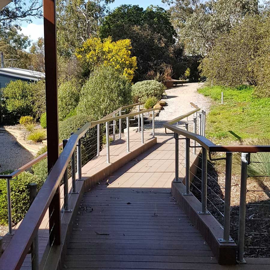 View along end of deck - BH building